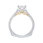 14K Two Tone Gold Princess Cut Diamond Solitaire Engagement Ring (Semi Mount) Engagement Ring CARIZZA