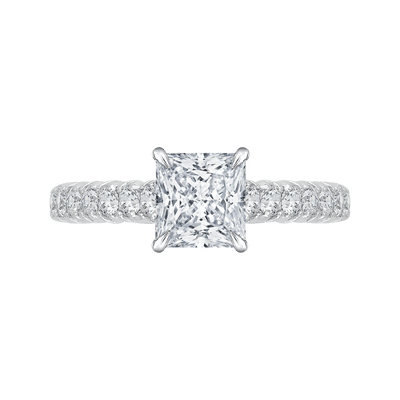 14K White Gold Princess Cut Diamond Cathedral Style Engagement Ring (Semi Mount) Engagement Ring CARIZZA