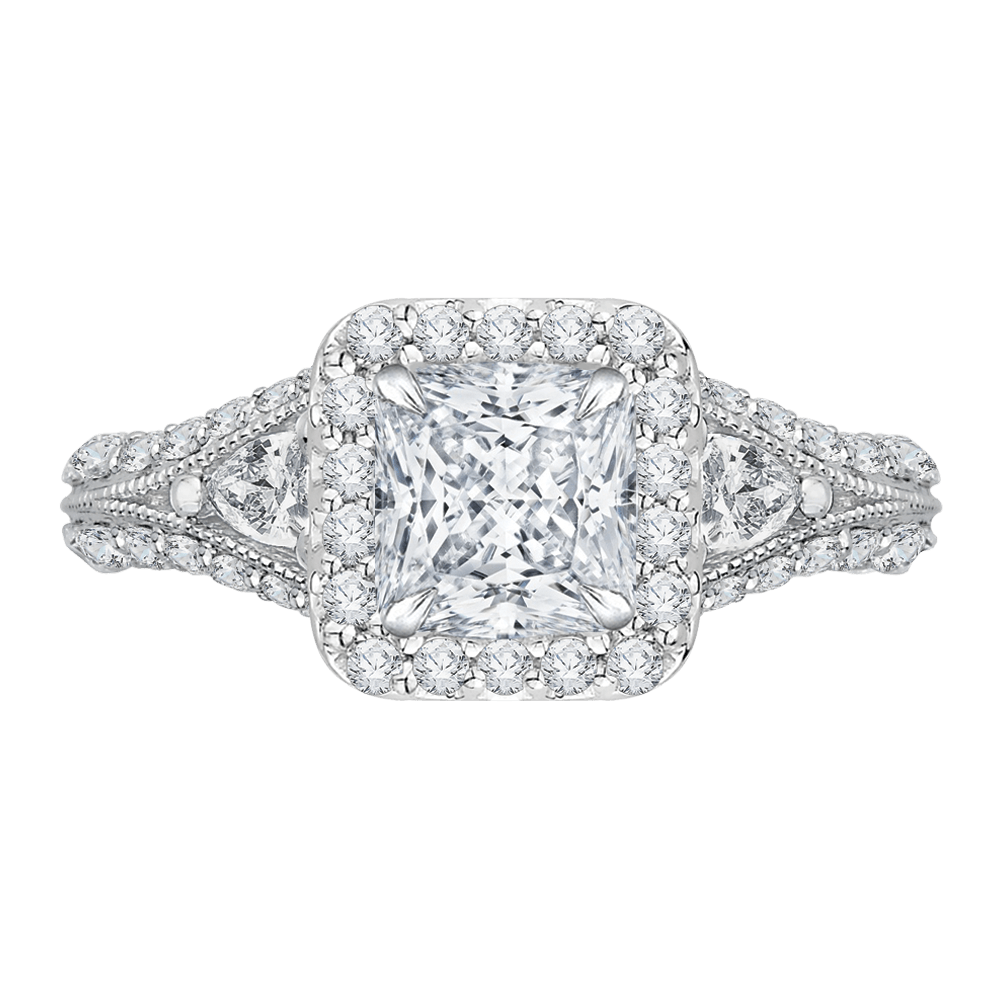 14K White Gold Princess Diamond Halo Engagement Ring with Split Shank (Semi Mount) Engagement Ring CARIZZA