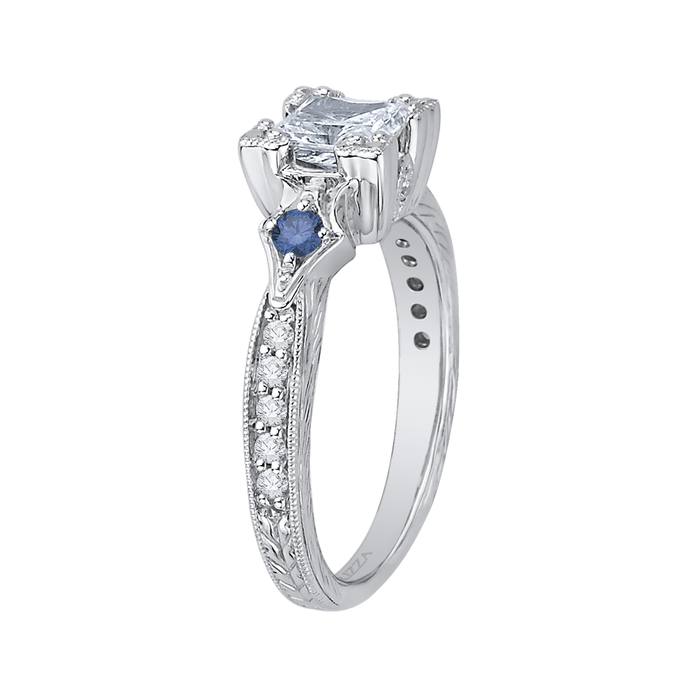 14K White Gold Princess Diamond Engagement Ring with Sapphire (Semi Mount) Engagement Ring CARIZZA
