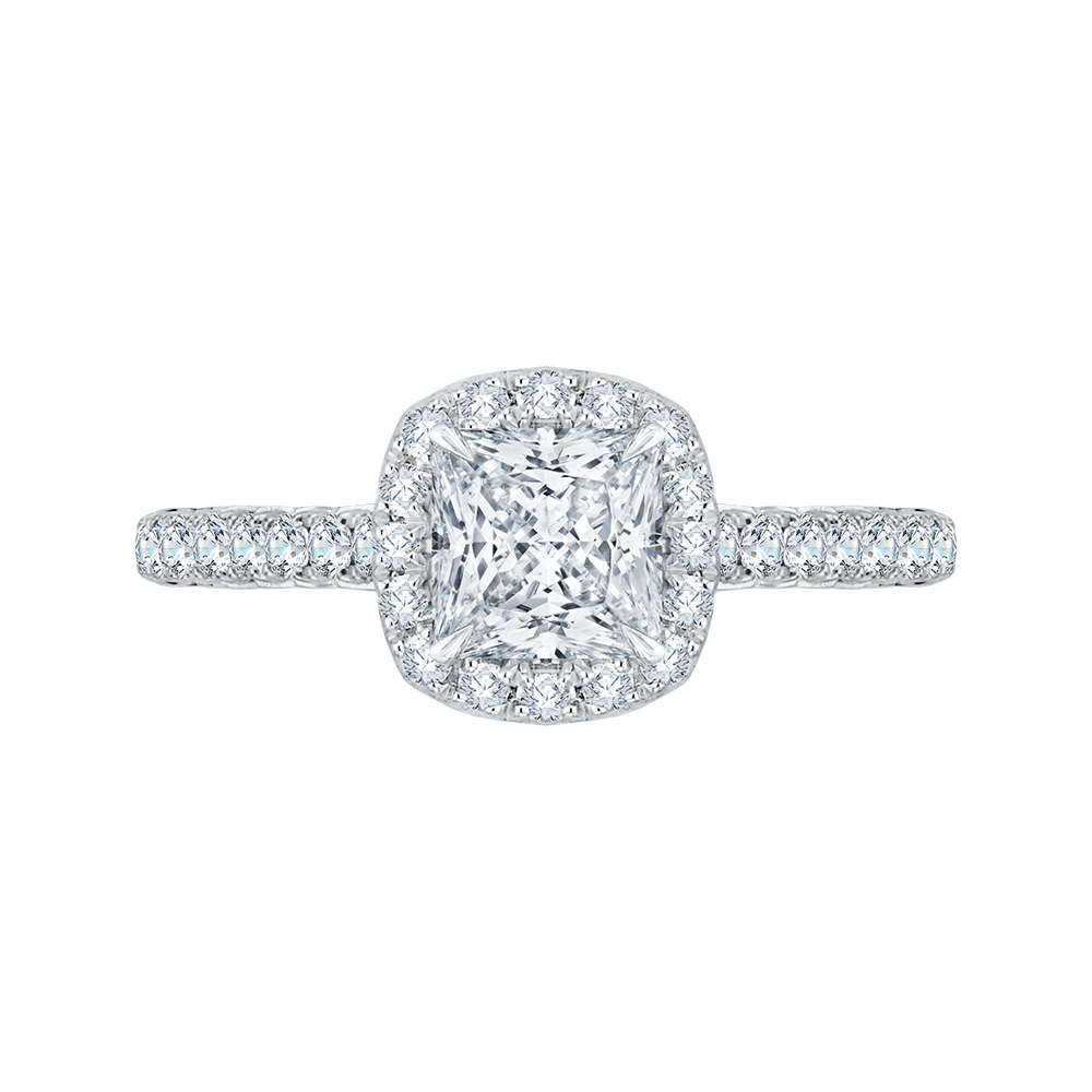 14K White Gold Princess Cut Diamond Halo Engagement Ring (Semi Mount) Engagement Ring CARIZZA
