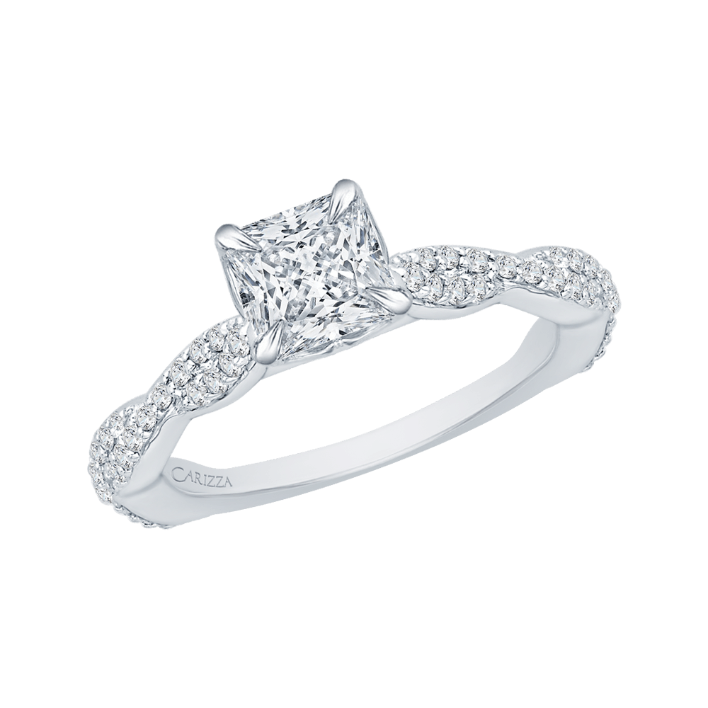 14K White Gold Princess Diamond Engagement Ring with Criss Cross Shank (Semi Mount) Engagement Ring CARIZZA