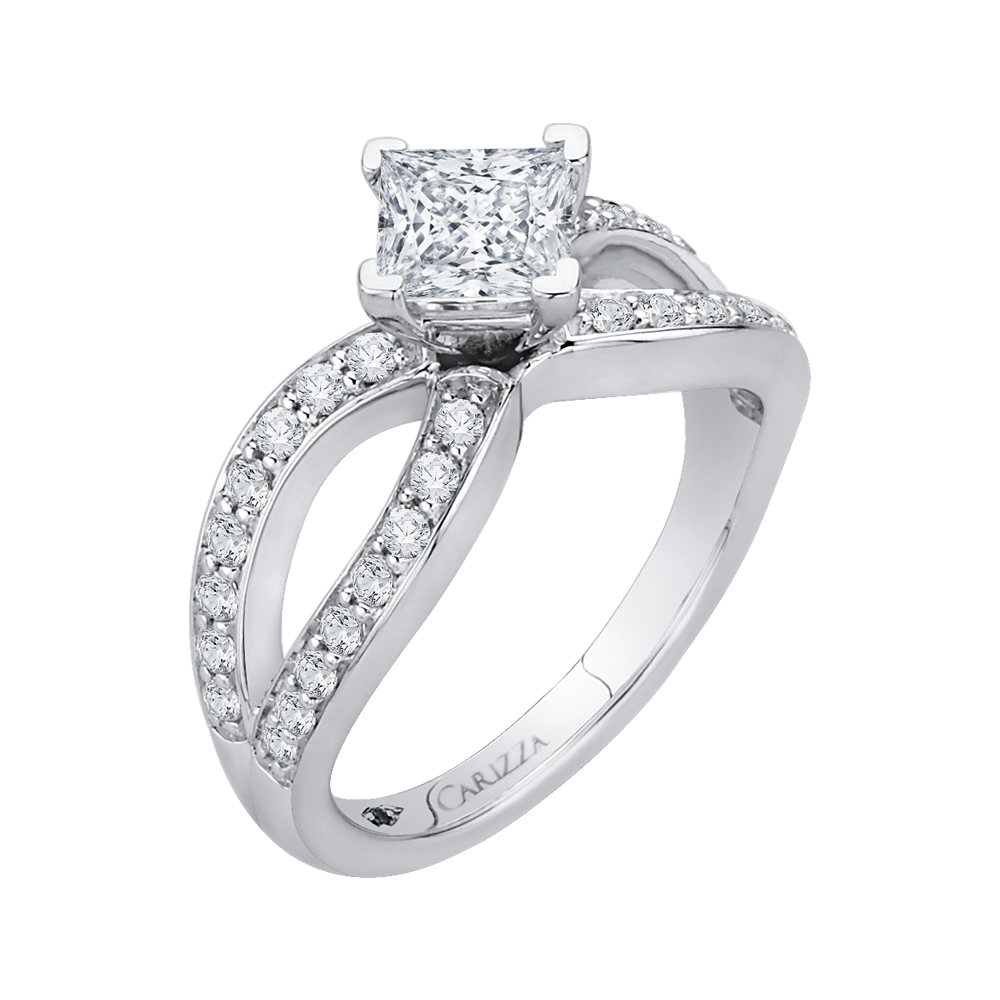 14K White Gold Princess Diamond Engagement Ring with Split Shank (Semi Mount) Engagement Ring CARIZZA