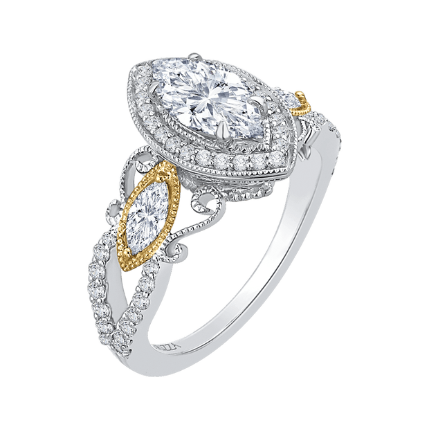 14K Two Tone Gold Marquise Diamond Halo Engagement Ring (Semi Mount) Engagement Ring CARIZZA