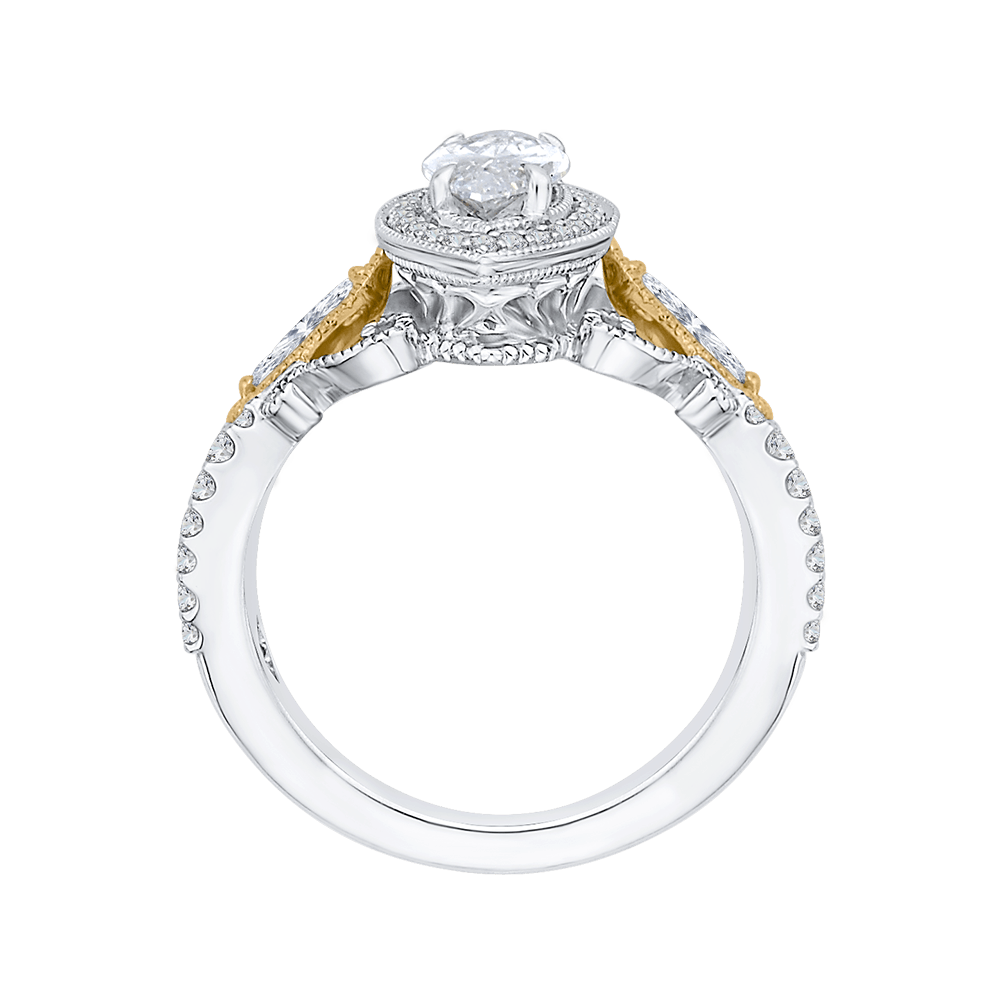 14K Two Tone Gold and Diamond Semi-Mount