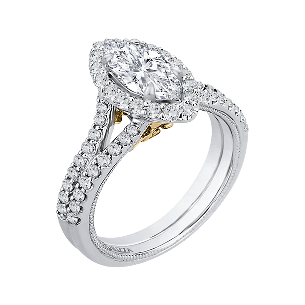 14K Two Tone Gold Marquise Diamond Halo Vintage Engagement Ring with Split Shank (Semi Mount) Engagement Ring CARIZZA