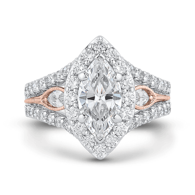 14K Two Tone Gold Marquise Diamond Halo Engagement Ring with Split Shank (Semi Mount) Engagement Ring CARIZZA