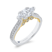14K Two Tone Gold Marquise Diamond Engagement Ring (Semi Mount) Engagement Ring CARIZZA