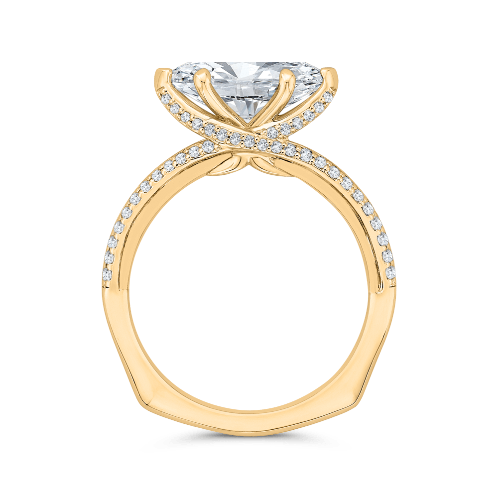 14K Yellow Gold Marquise Cut Diamond Engagement Ring with Euro Shank (Semi-Mount) Engagement Ring CARIZZA