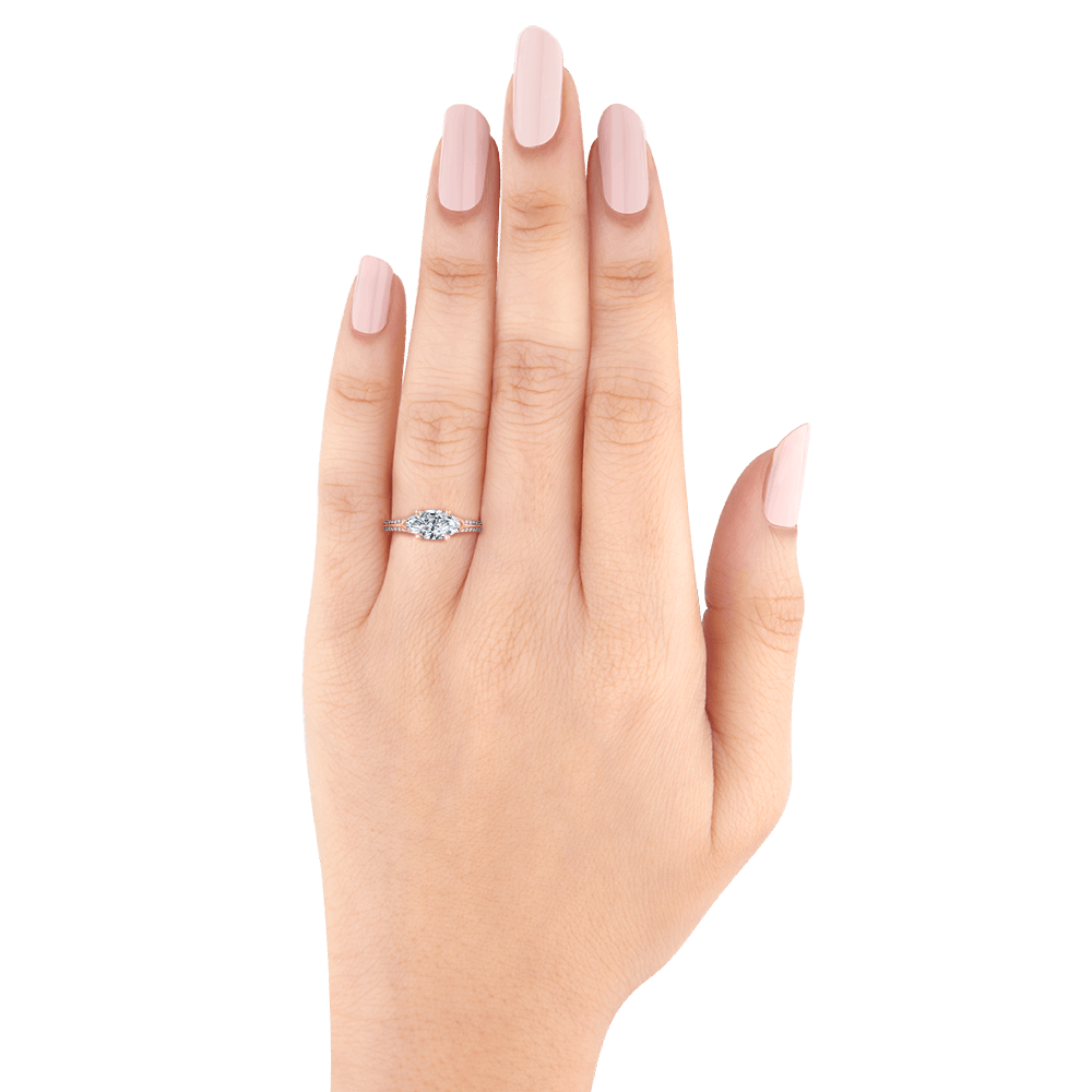 14K Rose Gold Marquise Cut Diamond Engagement Ring with Euro Shank (Semi-Mount) Engagement Ring CARIZZA
