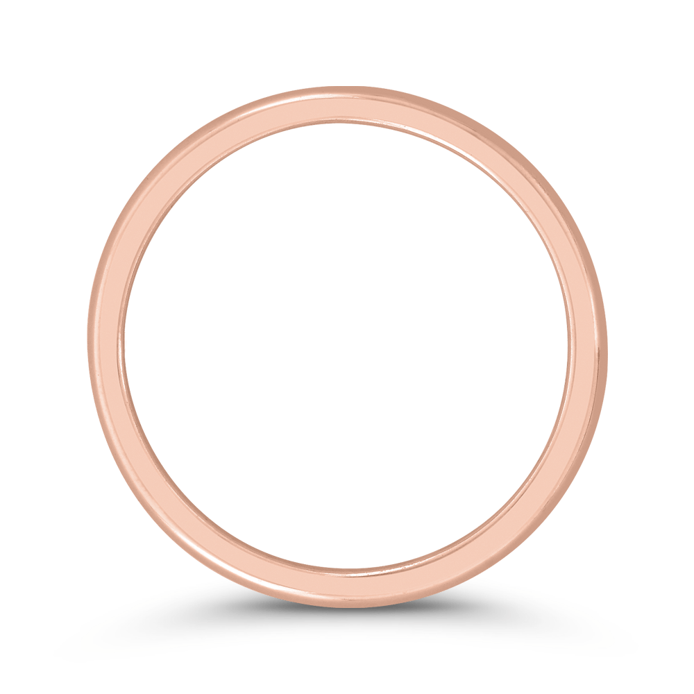 14K Rose Gold Plain Wedding Band with Round Shank Wedding Band CARIZZA