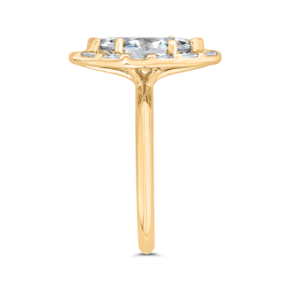 14K Yellow Gold Marquise Cut Diamond Engagement Ring with Round Shank (Semi-Mount) Engagement Ring CARIZZA