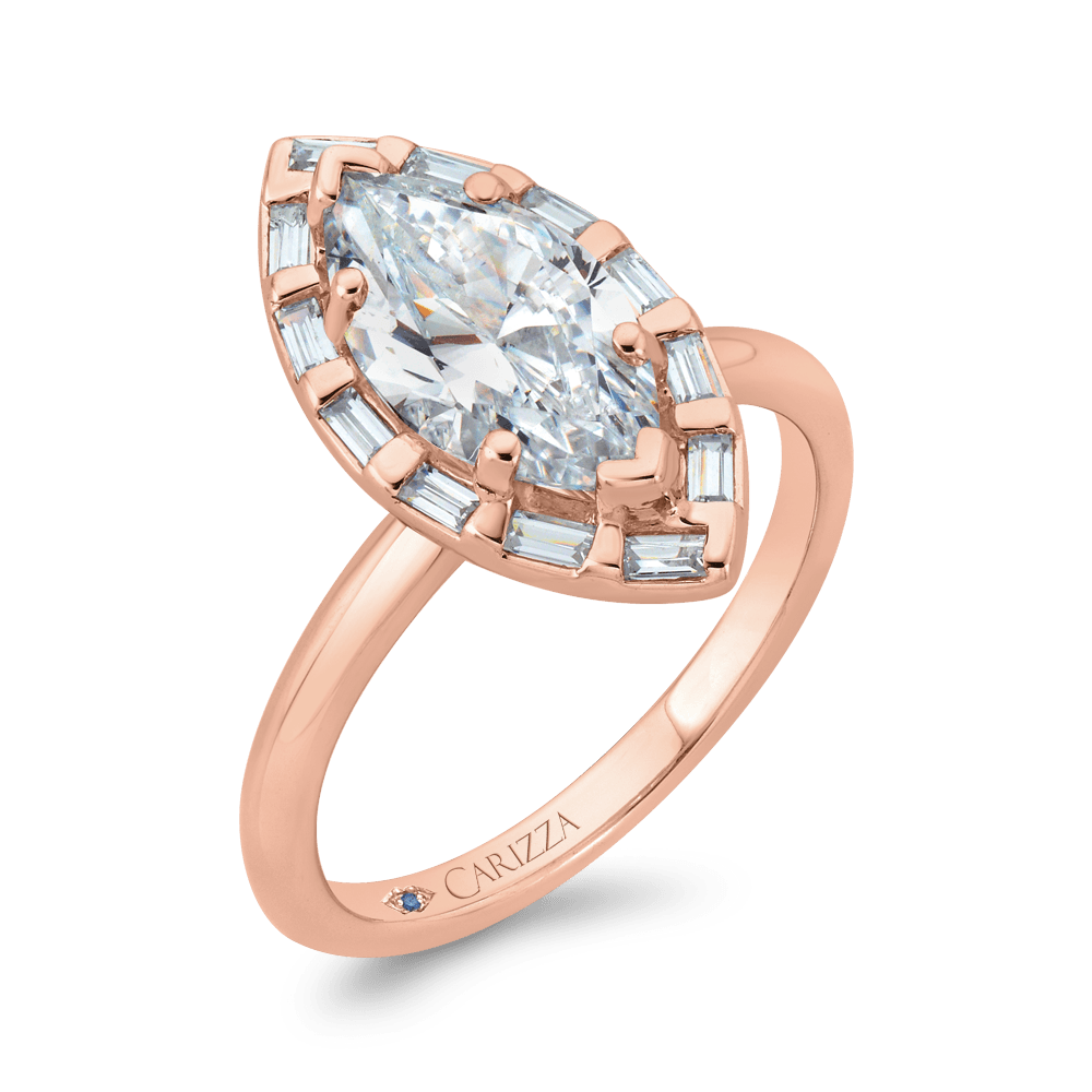 14K Rose Gold Marquise Cut Diamond Engagement Ring with Round Shank (Semi-Mount) Engagement Ring CARIZZA