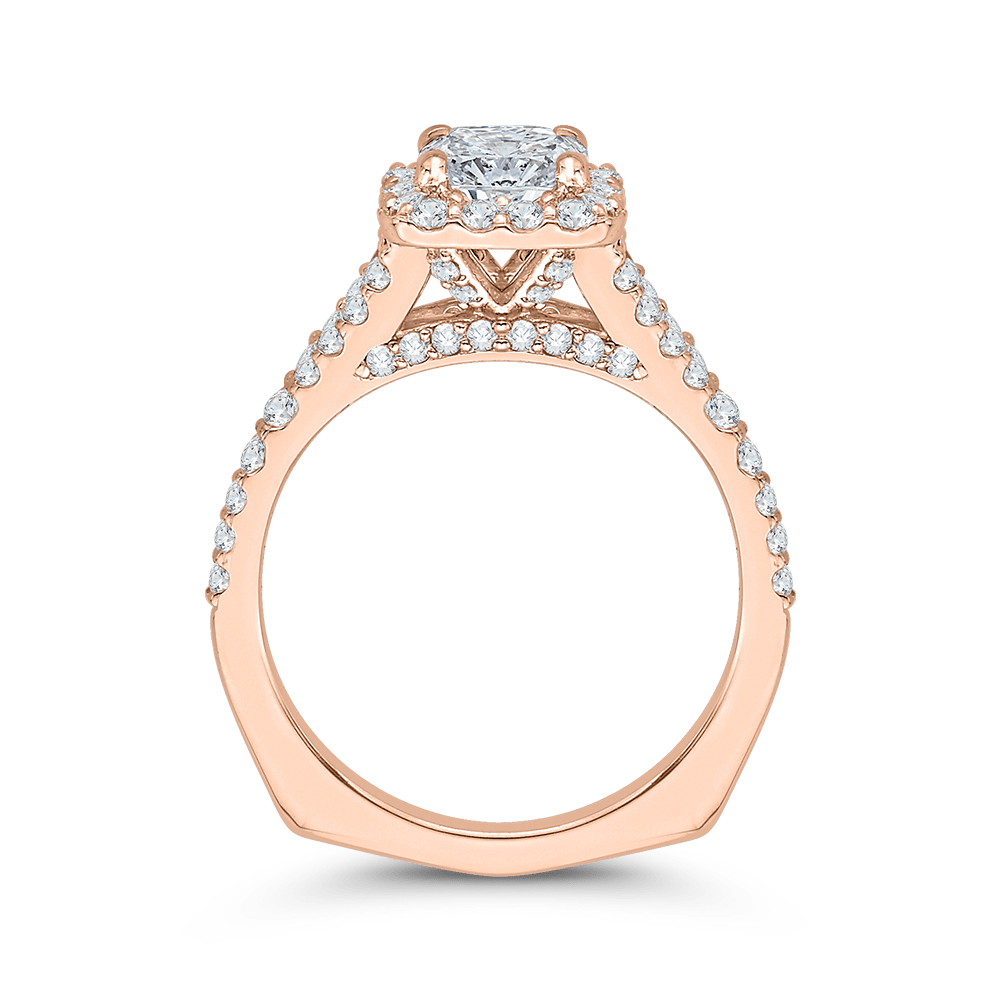 14K Rose Gold Cushion Cut Diamond Halo Engagement Ring with Split Shank (Semi Mount) Engagement Ring CARIZZA