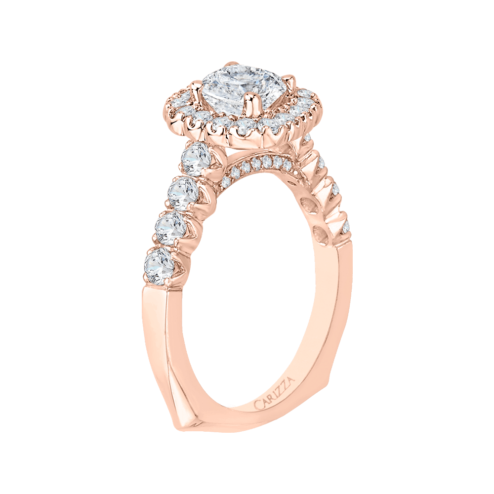 14K Rose Gold Cushion Cut Diamond Halo Engagement Ring (Semi Mount) Engagement Ring CARIZZA