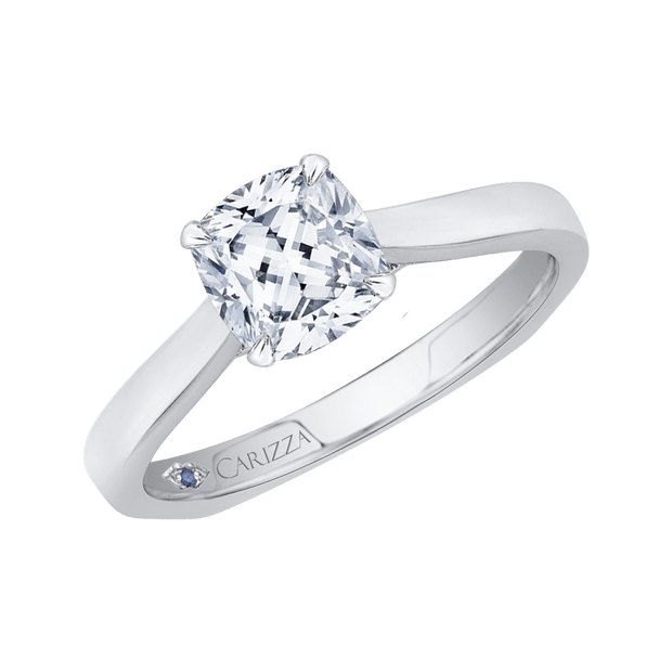 14K Two Tone Gold Cushion Cut Diamond Solitaire Engagement Ring (Semi Mount) Engagement Ring CARIZZA