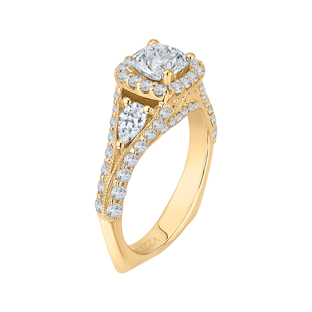 14K Yellow Gold Cushion Diamond Halo Engagement Ring with Split Shank (Semi Mount) Engagement Ring CARIZZA