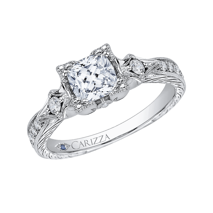 14K White Gold Cushion Cut Diamond Vintage Engagement Ring (Semi Mount)