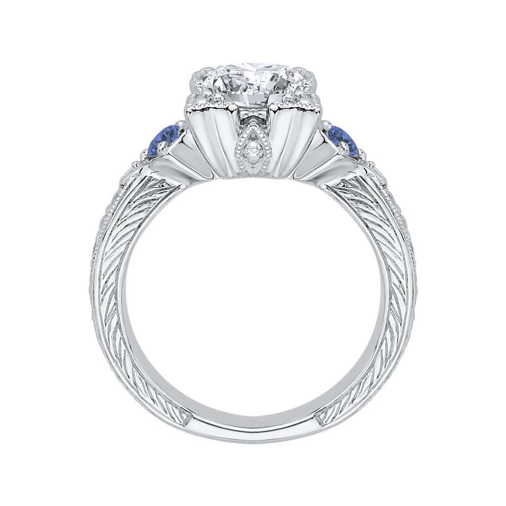 14K White Gold Cushion Cut Diamond Engagement Ring with Sapphire (Semi Mount) Engagement Ring CARIZZA