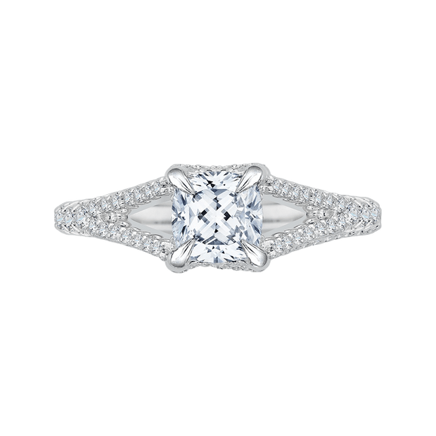 Split Shank Cushion Cut Diamond Engagement Ring In 14K White Gold (Semi Mount) Engagement Ring CARIZZA