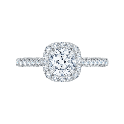 Cushion Cut Halo Diamond Engagement Ring In 14K White Gold (Semi Mount) Engagement Ring CARIZZA