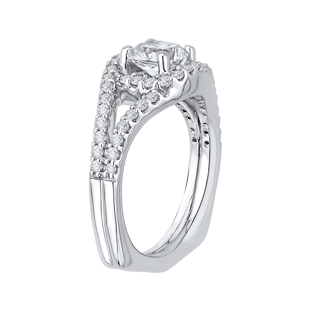 14K White Gold Cushion Diamond Halo Engagement Ring with Split Shank (Semi Mount) Engagement Ring CARIZZA