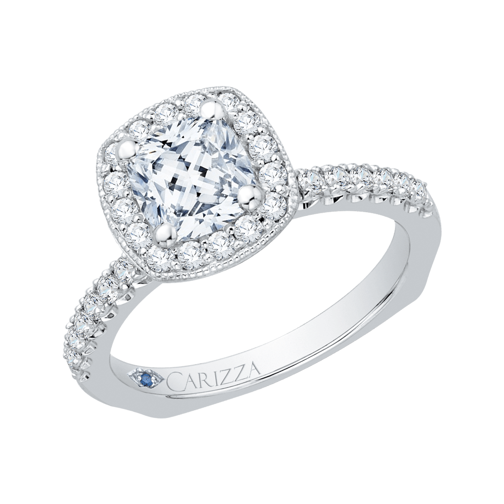 14K White Gold Cushion Diamond Halo Engagement Ring with Euro Shank (Semi Mount) Engagement Ring CARIZZA
