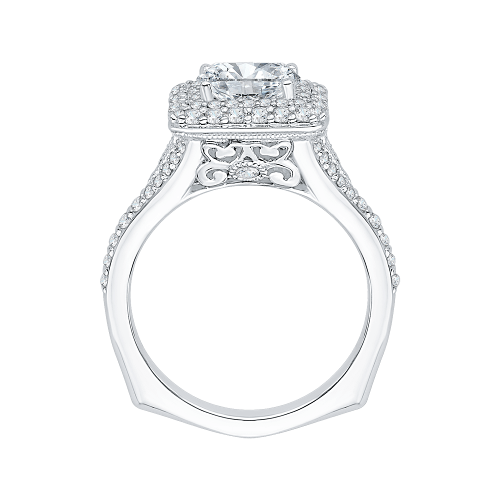 14K White Gold Cushion Diamond Double Halo Engagement Ring with Split Shank (Semi Mount) Engagement Ring CARIZZA