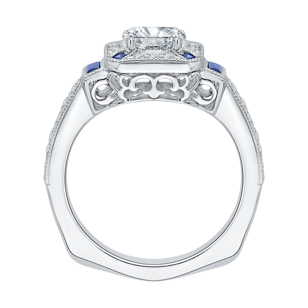 14K White Gold Cushion Cut Diamond Halo Engagement Ring with Sapphire (Semi Mount) Engagement Ring CARIZZA