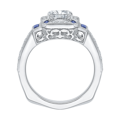 Image of 14K-White-Gold-Cushion-Cut-Diamond-Halo-Engagement-Ring-with-Sapphire-(Semi-Mount)