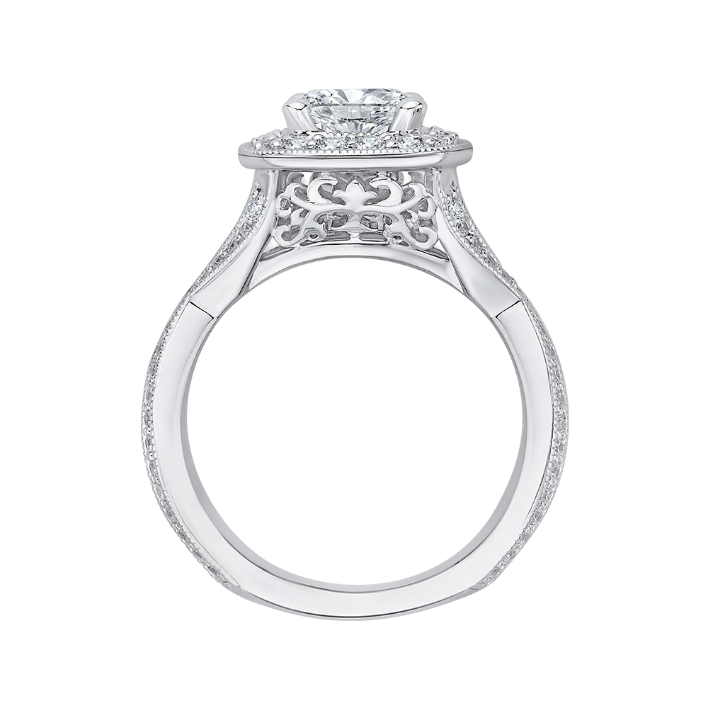 Cushion Cut Diamond Halo Engagement Ring with Split Shank In 14K White Gold (Semi Mount) Engagement Ring CARIZZA