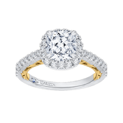14K Two Tone Gold Cushion Diamond Halo Engagement Ring (Semi Mount) Engagement Ring CARIZZA