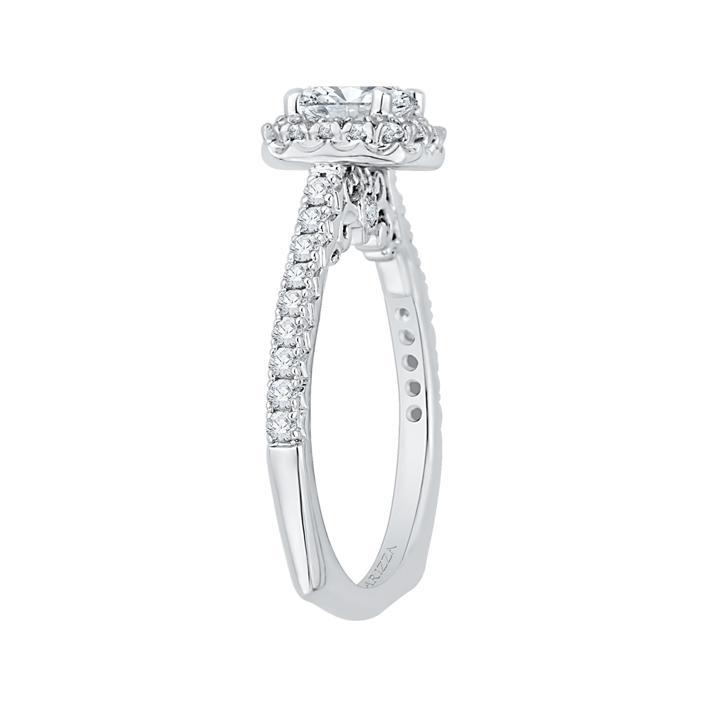 14K White Gold Cushion Halo Diamond Engagement Ring (Semi Mount) Engagement Ring CARIZZA