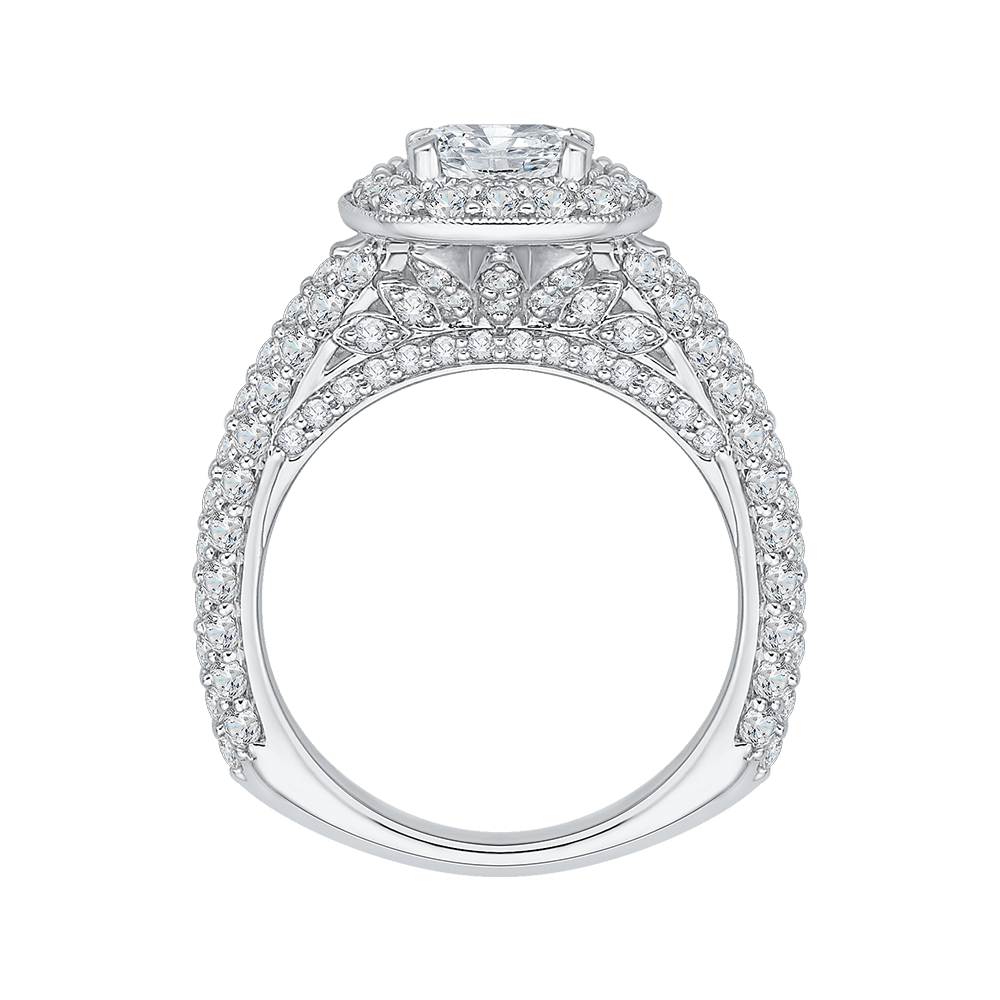 14K White Gold Cushion Diamond Halo Cathedral Style Engagement Ring (Semi Mount) Engagement Ring CARIZZA