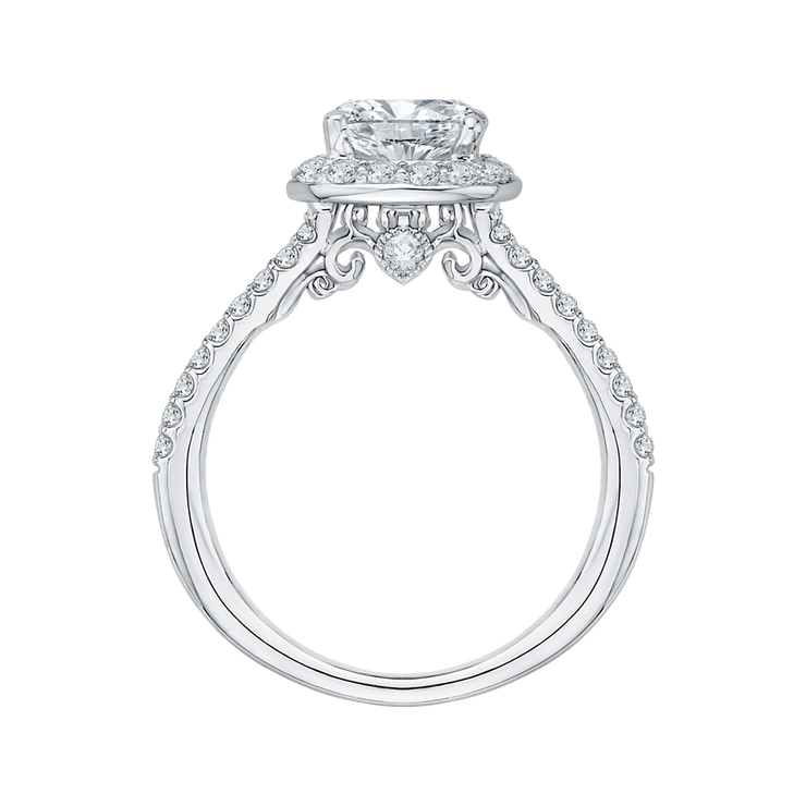 14K White Gold Cushion Cut Diamond Halo Engagement Ring with Split Shank (Semi Mount)