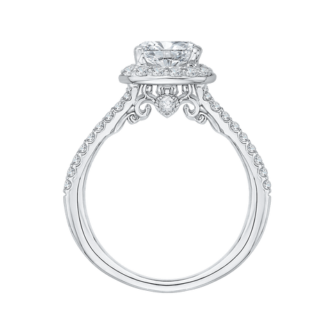 Image of 14K-White-Gold-Cushion-Cut-Diamond-Halo-Engagement-Ring-with-Split-Shank-(Semi-Mount)