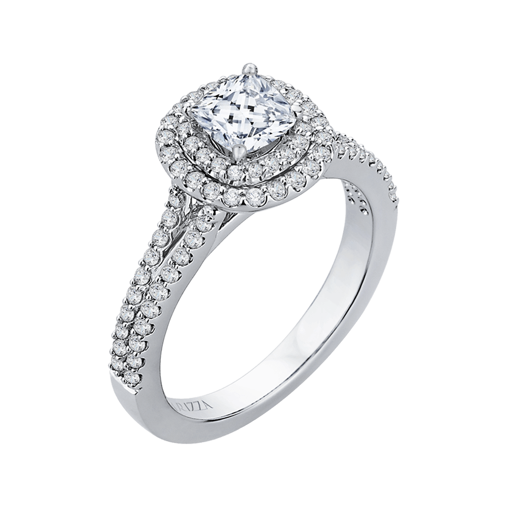 Cushion Diamond Double Halo Cathedral Style Engagement Ring In 14K White Gold (Semi Mount) Engagement Ring CARIZZA