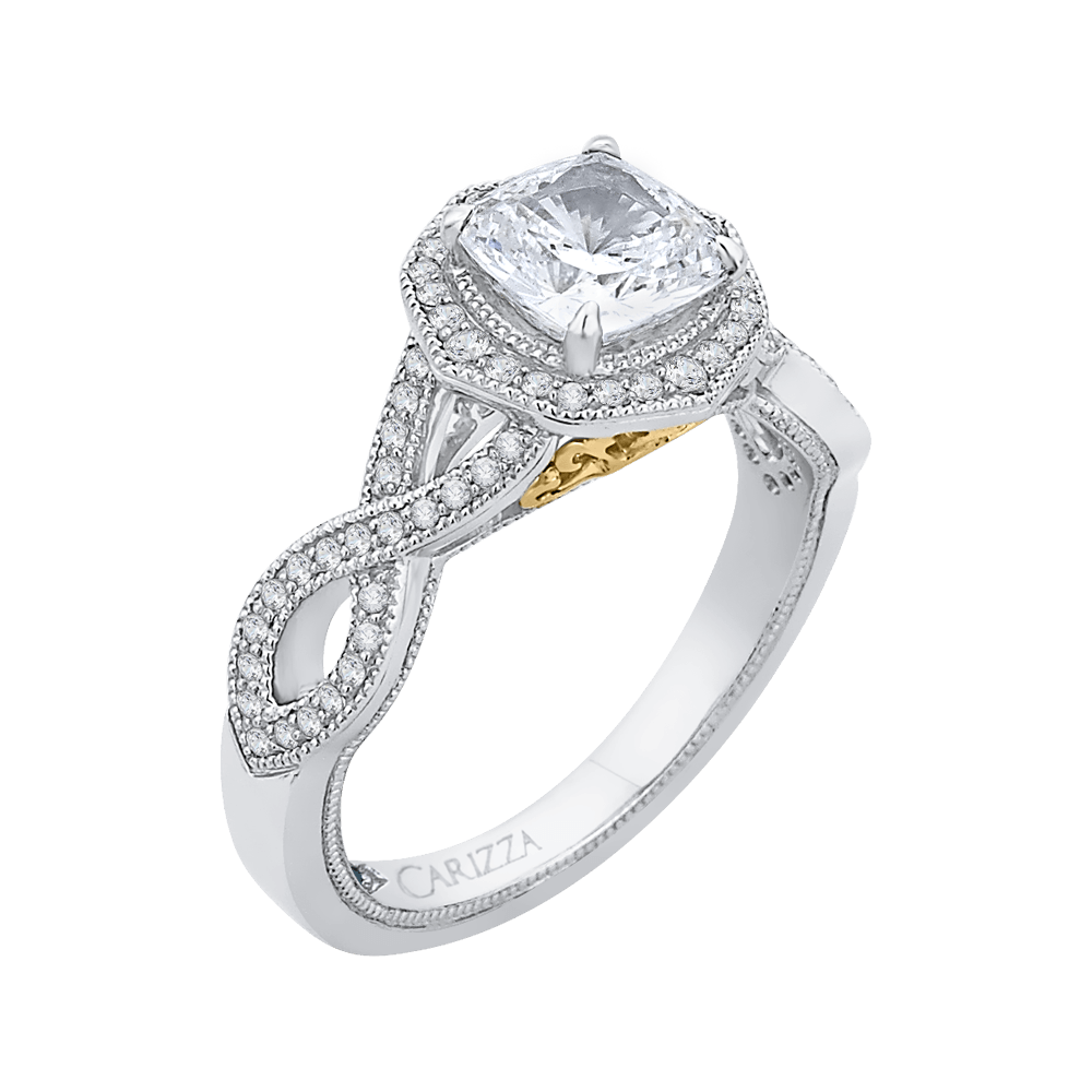 14K Two Tone Gold Cushion Cut Diamond Halo Engagement Ring with Split Shank (Semi Mount) Engagement Ring CARIZZA