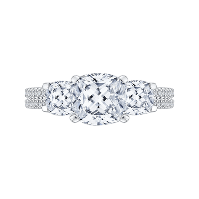 Cushion Cut Diamond with Sapphire Three Stone Cathedral Style Engagement Ring In 14K White Gold (Semi Mount) Engagement Ring CARIZZA