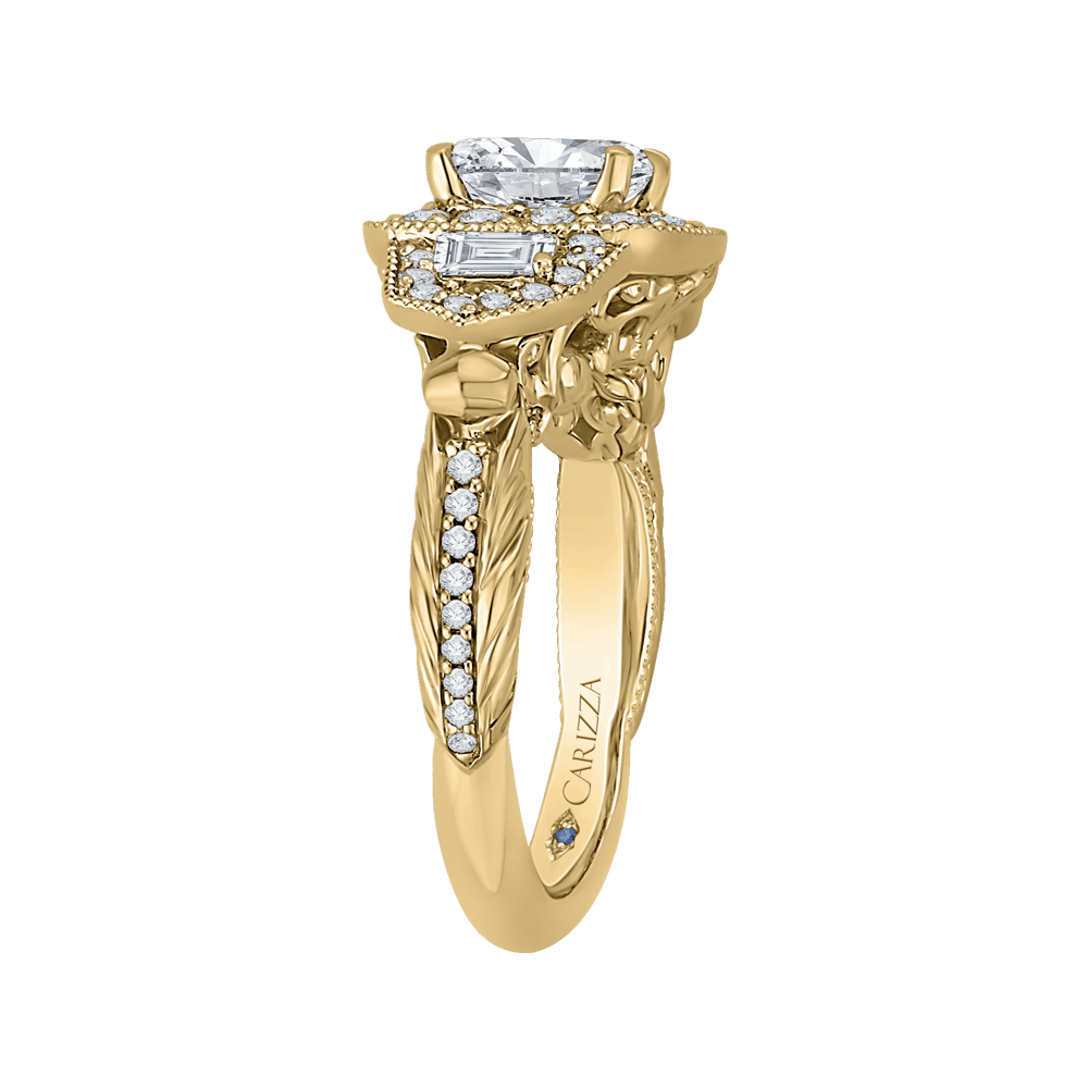 14K Yellow Gold Cushion Diamond Halo Vintage Engagement Ring (Semi Mount) Engagement Ring CARIZZA
