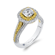 14K Two Tone Gold Cushion Cut Diamond Double Halo Engagement Ring with Split Shank (Semi Mount) Engagement Ring CARIZZA