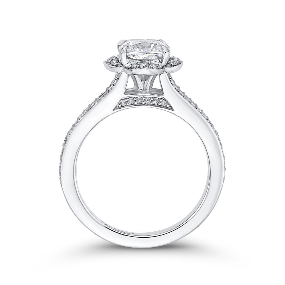 Cushion Diamond Cathedral Style Engagement Ring In 14K White Gold (Semi Mount) Engagement Ring CARIZZA