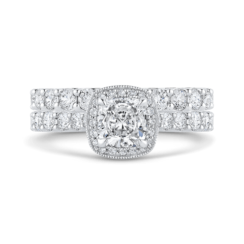 Image of 14K-White-Gold-Cushion-Diamond-Halo-Engagement-Ring-(Semi-Mount)