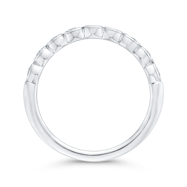 Round Half Eternity Diamond Wedding Band In 14K White Gold Wedding Band CARIZZA