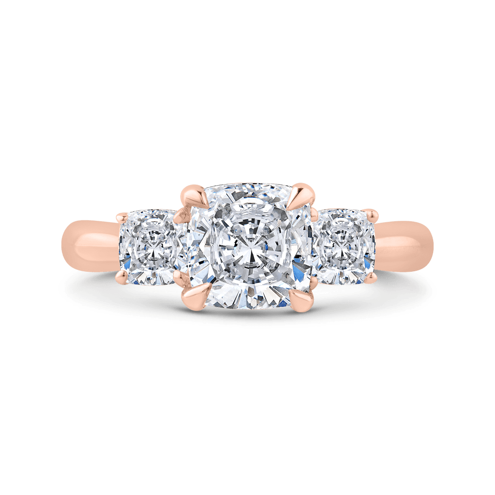 14K Rose Gold Cushion Cut Diamond Three-Stone Plus Engagement Ring with Round Shank (Semi-Mount) Engagement Ring CARIZZA