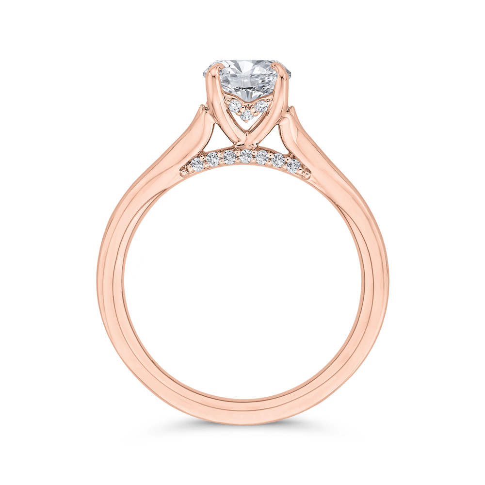 14K Rose Gold Cushion Diamond Solitaire Plus Engagement Ring (Semi-Mount) Engagement Ring CARIZZA