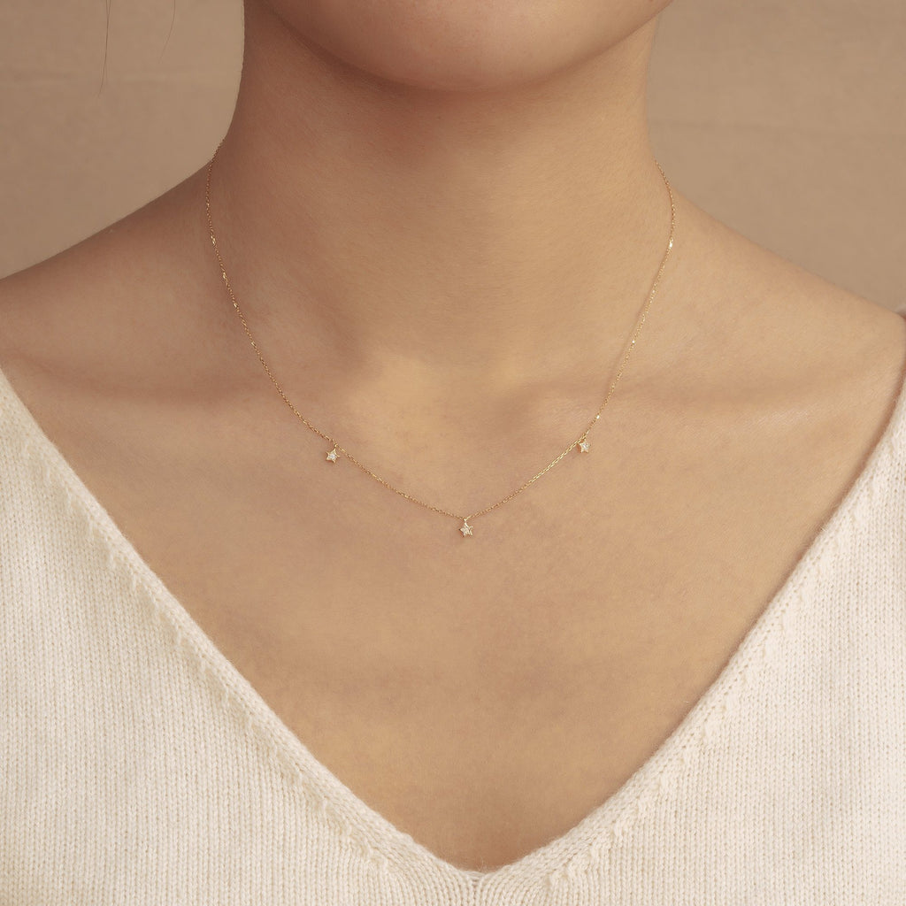 LYRA | Triple Diamond Star Necklace AURELIE GI