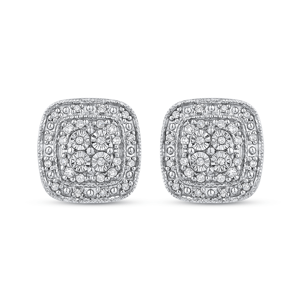 10K White Gold 1/5 Ct Diamond Fashion Earrings|***Complete Earrings Earrings LUMINOUS