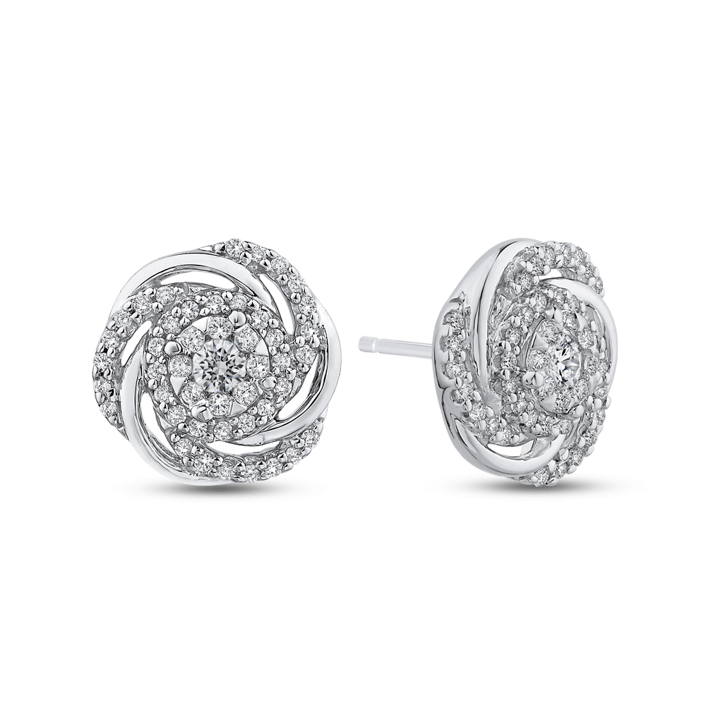 14K White Gold 1/2 ct Round White Diamond Swirl Fashion Stud Earrings|***Complete Earrings Earrings LUMINOUS