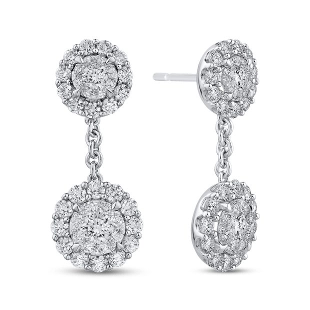 10K White Gold 2.83 ct Round Diamond Fashion Drop Earrings|***Complete Earrings Earrings LUMINOUS